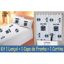 Cortina + Lençol + Fronha Grêmio Futebol Time Com Nome