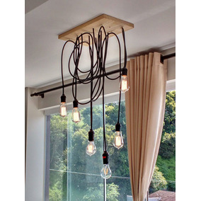Luminária Lustre Pendente Cascata Vintage Pr 6 Lamp Wood