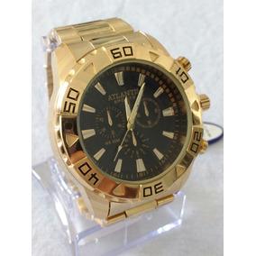 Relógio Dourado Masculino Original Atlantis Sports Original