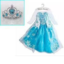 Fantasia Vestido Frozen Elsa +brinde Coroa Frete Grátis