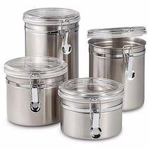 Conjunto De 4 Potes Hermeticos Para Mantimento De Aço Inox