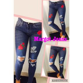Jeans Rotito Con Bordado Flores Desflecado Elastizado Margot
