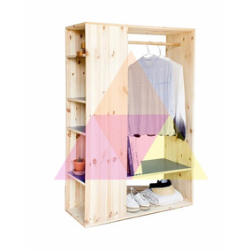 ropero placard vestidor abierto madera maciza 170 - Vestidores Abiertos
