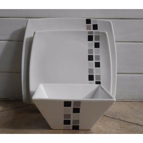 Platos Playos Cuadrados Con Diseño - 26cm X 26 Cm -vajilla-
