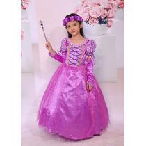 Fantasia Vestido Infantil Rapunzel Festa Luxo