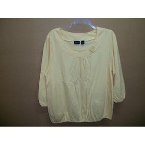 Preciosa Blusa Casual Amarillo Pastel Talla L-36 P/dama