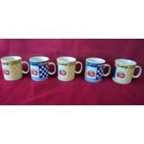 Juego 5 Tazas O Jarritos Cafe Sellado Fina Porcelana (59f)