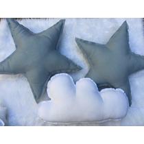Hermosos Almohadones Estrellas Y Nubes De Lino