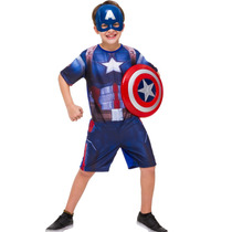 Fantasia Capitão América 3 Com Escudo Tamanho P (2 A 4 Anos)