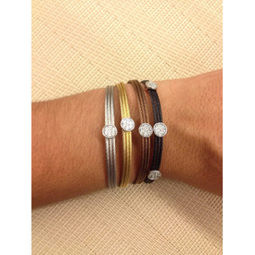 Conjunto De Bracelete Italiano 3 Fios Com Círculo Em Strass