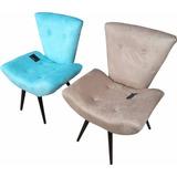 Poltrona Cadeira Estofada Pés Palito Cor Suede Areia Ou Azul