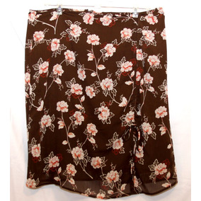 * Remate Falda Corta Formal Cafe Con Flores 14 Americana