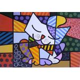 Quadro Romero Brito - O Gato Pintado À Mão 1,00 X1,00 Metro
