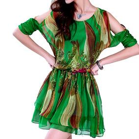 Vestido De Seda Abstrato - Stu1000384