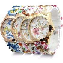 Reloj Silicon Estilo Geneva Gliss Estampados Florales