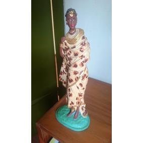 Linda Imagem Africana De Gesso Pintada À Mão - Arte