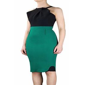 Vestido Casual A La Rodilla Verde Con Negro