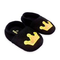 Sapato Bebê Preto Com Bordado Amarelo   Isabb (original)