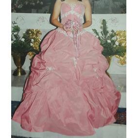 Vestido Xv Años Marca N&n Color Palo De Rosa Talla 8