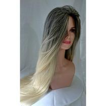 Peruca Front Lace,loira Com Raiz Preta, 75cm! Modelo Novo!!