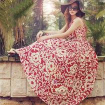 Tsuki Moda Asiatica: Vestido Sencillo Largo Casual Flores