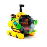 Brinquedo Submarino Amarelo + Bonecos Compatível Lego