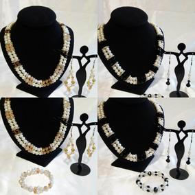 Collar De Perlas De Cristal Finos Con Aretes Y Pulseras