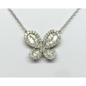 Pocao2005- Colar Ouro Branco 18k750 Diamantes Borboleta C107