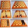 Juego De Mesa 3 En 1 Ajedrez Damas Backgammon Tablero Madera