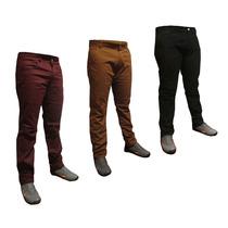 Kit 3 Calça Jeans E Sarja Masculina Skinny Preta Vinho Bege