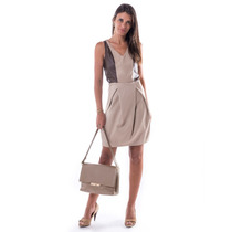 Vestido Piquet Recorte Couro