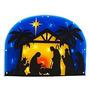 Pesebre Ventana Iluminada Silueta De La Natividad / Puerta