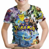 Camiseta Infantil Jogo Pokemon Go Ash Pikachu Md2