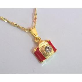 Gargantilha Colar Câmera Fotográfica Vermelha Folheada Ouro