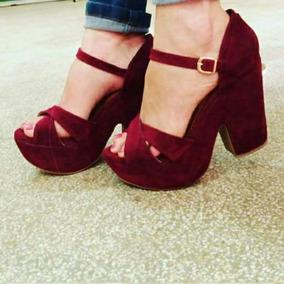 Sapatos Femininos Sandálias Plataforma Marsala Nobuck