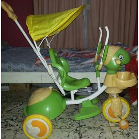 Triciclo Tortuga Musical Con Barral De Empuje