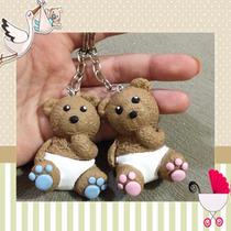 Kit 30 Lembrancinhas Nascimento Chaveiro Urso Biscuit C/ Tag
