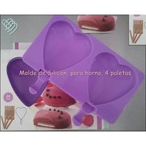 Molde Silicón Paleta De Corazón Helado, Pastelito Horneable