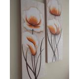 Promoção Quadro Par De Telas Decorativa Flores Pintado A Mão