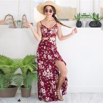 Roupas Femininas Vestido Longo Estampado Com Fenda Verão