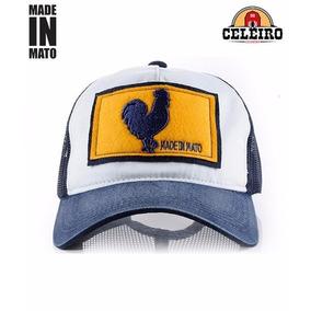 Boné Jãum Jãum Made In Mato Rooster Azul E Amarelo Com Tela