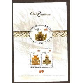 2000 Maquetas Prehispanicas Casa 2 M Hoja Souvenir/3 Sellos
