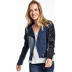 Jaqueta Hering Feminina Mix Jeans Couro Sintético Azul