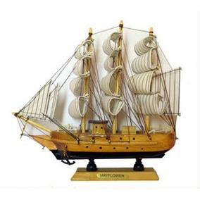 Enfeite Navio De Madeira / Barco / Caravela 20 Cm