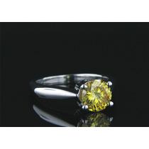 Anillo Con Diamante Amarillo Canario De 1.00 Ct. En Oro 14k