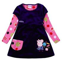 Vestido Peppa Infantil Manga Longa Outono/inverno