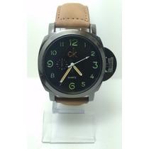 Relógio Masculino Luxo Ck Pulseira Couro Social Bonito
