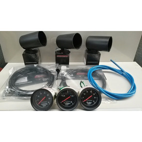 Kit Com 3 Manometros Vw Gol Turbo Cronomac Preto + Brindes