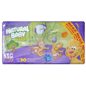 Kit 6 Pcts Fralda Natural Baby Mega - Tam. Sxg - 180 Unds