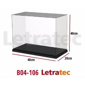B04-106 Caja Acrílico Maqueta Con Base Mdf Laqueada 20x40x40
